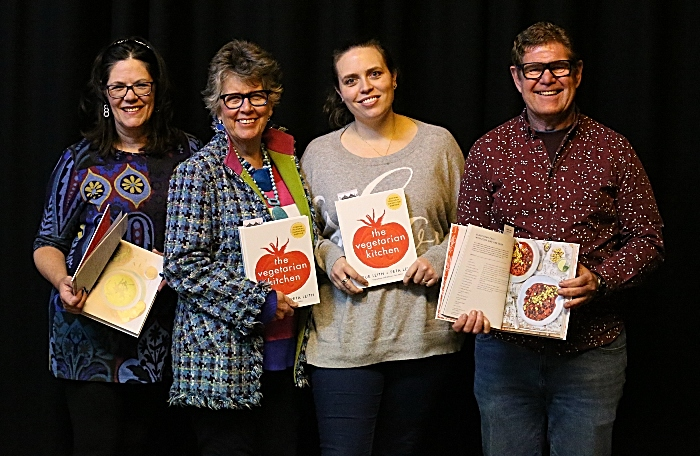 l-r Denise Lawson - Prue Leith - Peta Leith - Steve Lawson all holding The Vegetarian Kitchen cookbook (1)