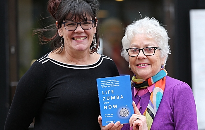l-r - Denise Lawson from Nantwich Bookshop & Coffee Lounge with author Joan Carter and her book (1)