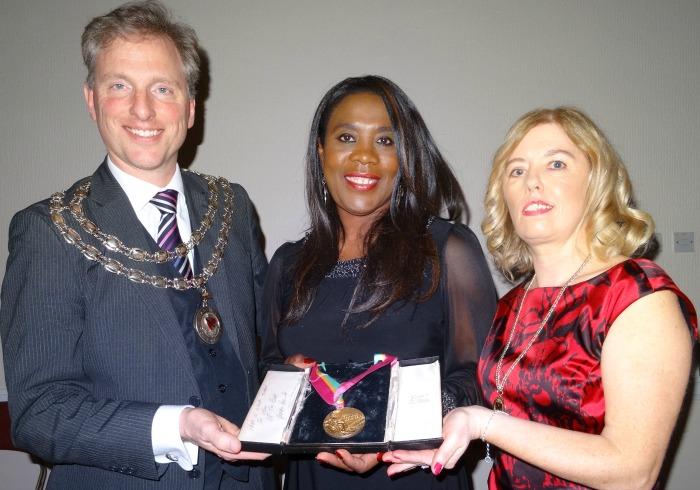 l-r Mayor Andrew Martin - Tessa Sanderson - Mayoress Linda Martin
