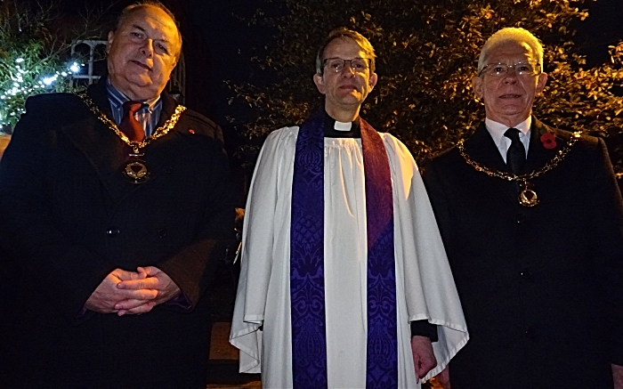 l-r Mayor of Nantwich Councillor David Marren - Rector of St Marys Church Revd Dr Mark Hart - Deputy Mayor of Nantwich Councillor Arthur Moran (1)