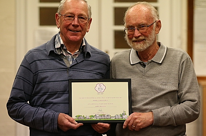 l-r Mervyn Bellis and John Wood with their Wistaston Conservation Group 'Britain in Bloom - It's Your Neighbourhood Award of Level 5 - Outstanding' 2019 certificate (1)