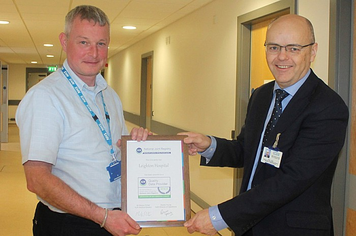 leighton hospital praised over joint replacement surgery