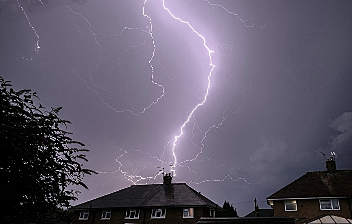 lightning strikes in sky above Nantwich August 2020