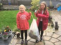 Stapeley girls collect bags of litter during half-term