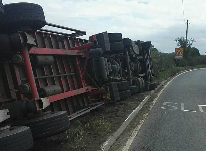 lorry on side A534 Faddiley, pic by cheshire police rescue teams