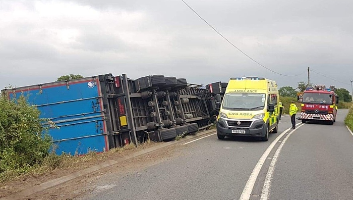 lorry overturned A534