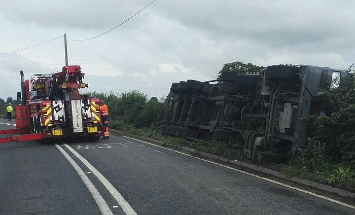 lorry overturned on A534 Faddiley