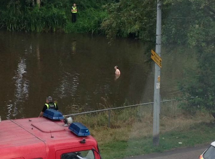 man rescued from river weaver in nantwich