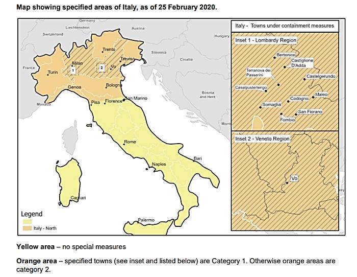 map of northern italy - coronavirus