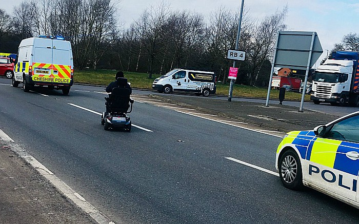 mobility scooter on A500, pic by Nantwich Police
