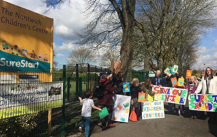 nantwich children's centre protest at closure, pic by Kirsty Rollings