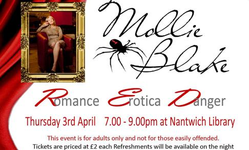 Erotic writer Mollie Blake to give talk at Nantwich Library