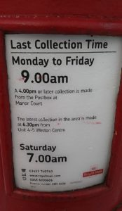 nantwich postbox collections times changes by royal mail