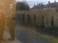 Stunned rail passengers watch train staff rowing on Nantwich platform