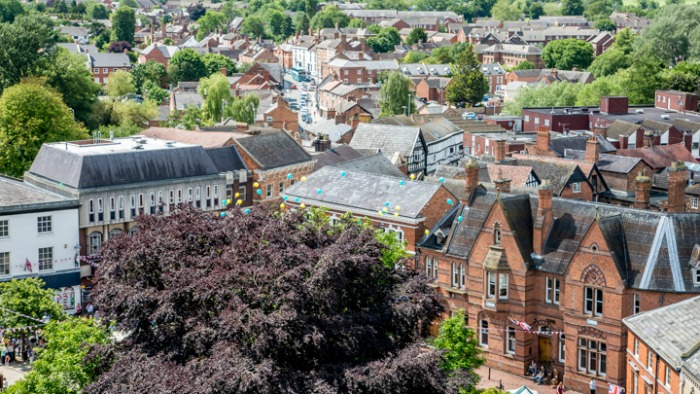 Channel 5 show - nantwich town centre from top of St Mary's Church