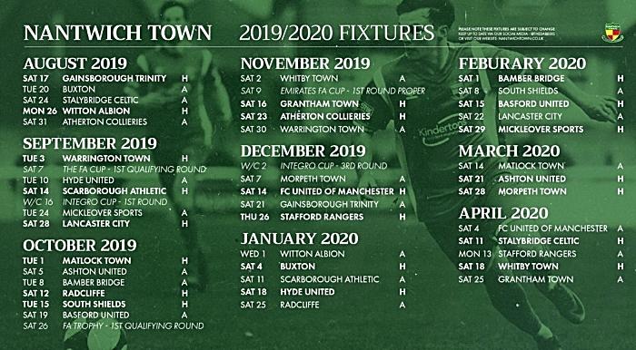 nantwich town season fixtures