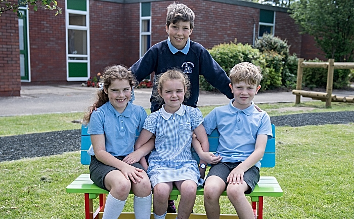 new buddy bench at audlem st james primary school