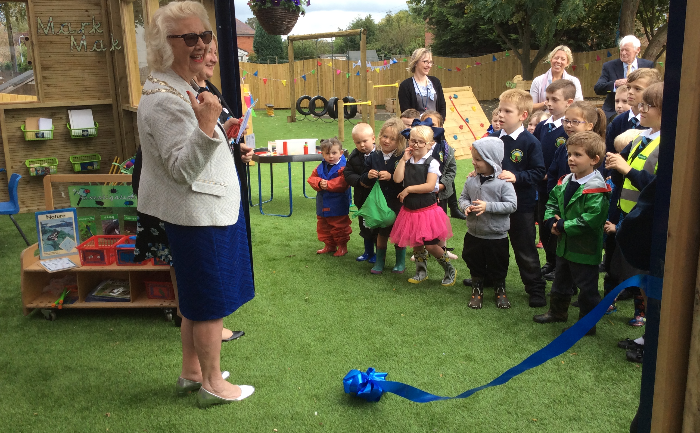 opening of nantwich primary academy early years outdoor area