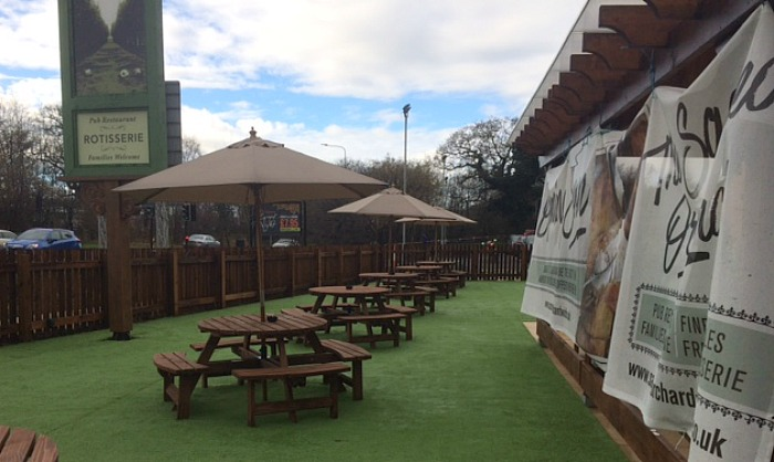 outdoor area of new pub Sacred Orchard