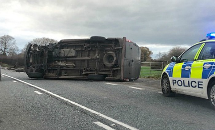 overturned car on A51 Reaseheath Dec 6 2017