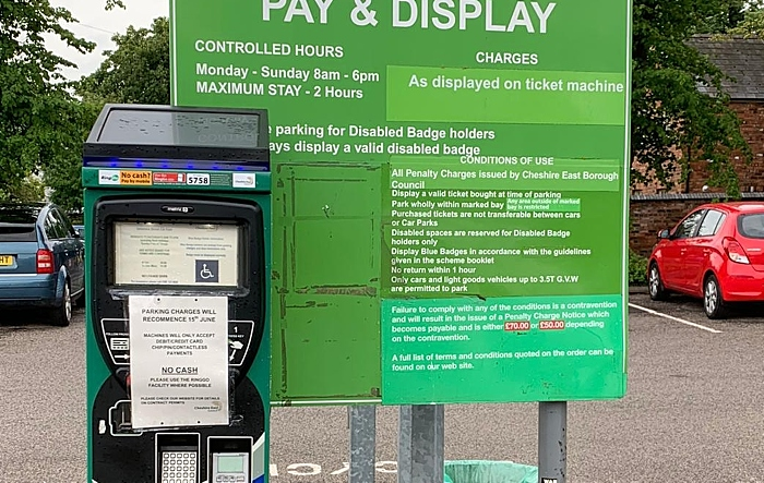 parking machine with sign