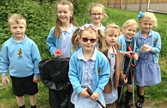 pear tree pupils picking litter