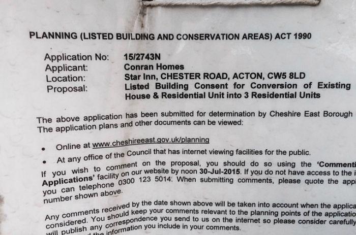 planning notice, Star Inn in Acton