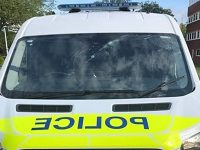 Hunt for vandals who smashed marked police van in Crewe