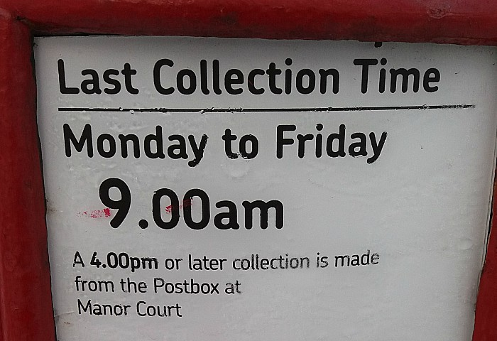 post boxes - collection times in nantwich