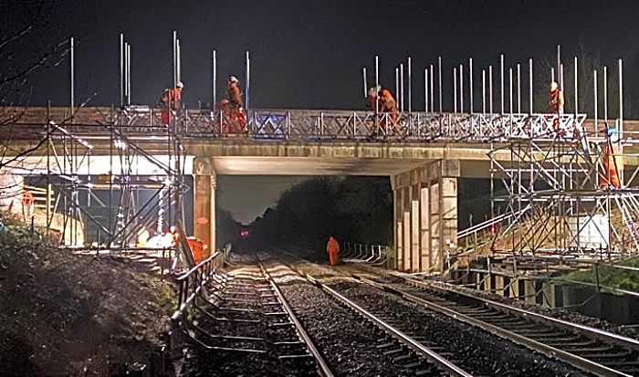 rail bridge works at A530 Middlewich Road