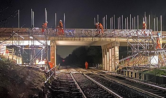 rail bridge works at A530 Middlewich Road