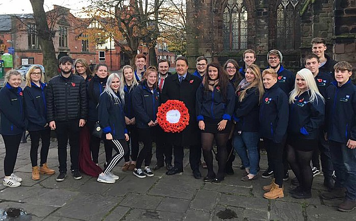 reaseheath students at nantwich remembrance sunday