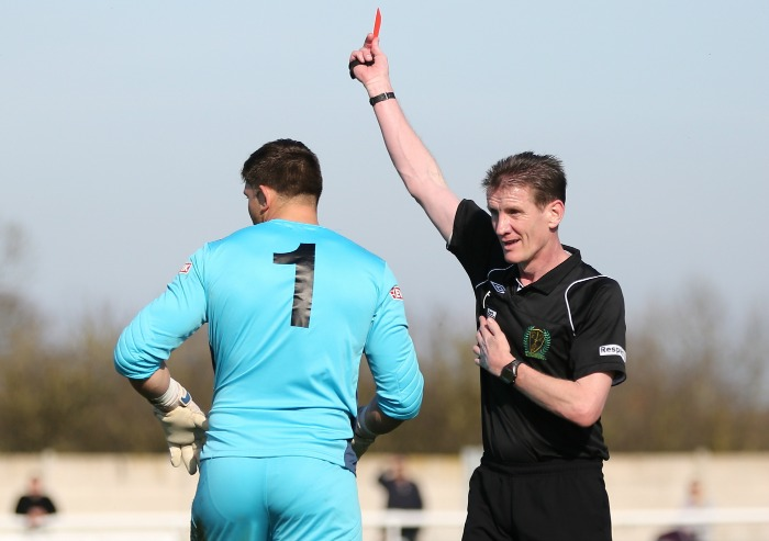 red card for Witton keeper against Nantwich Town