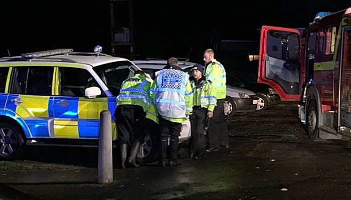Special Constables - river rescue by police and fire flooded weaver in Nantwich