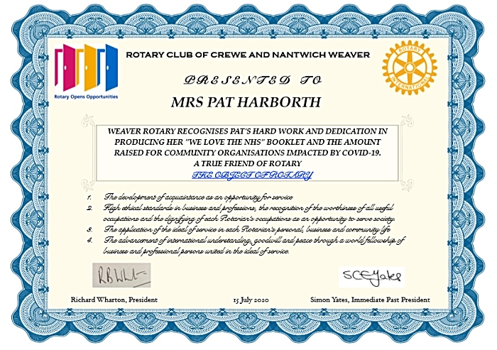 rotary club certificate for Pat Harborth
