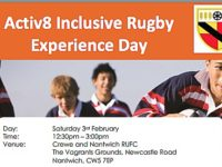 Crewe & Nantwich RUFC to stage Activ8 rugby experience day
