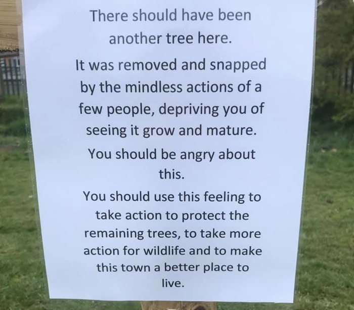 Sign from residents on Brookfield Park
