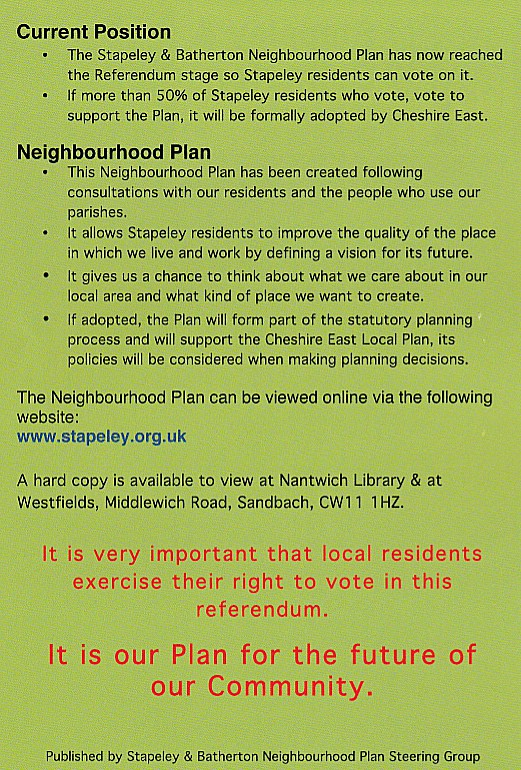 stapeley neighbourhood plan flyer