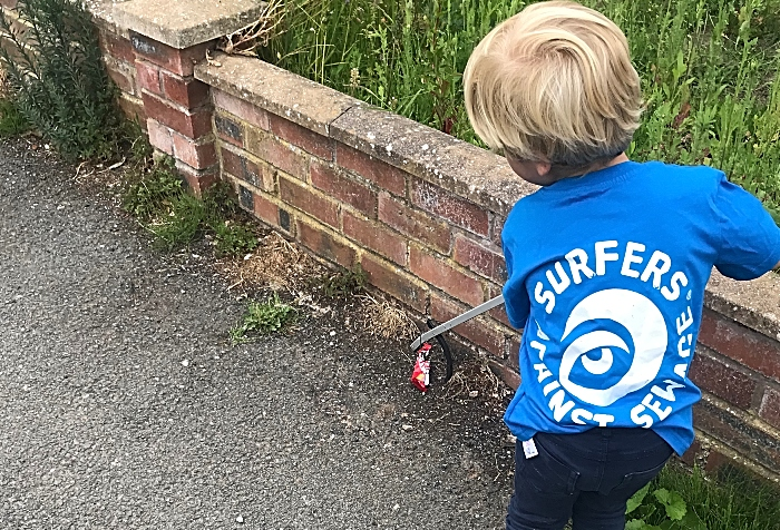 sustainable nantwich collecting plastic rubbish