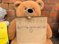 Protesters leave teddy bear messages outside Nantwich Conservative office