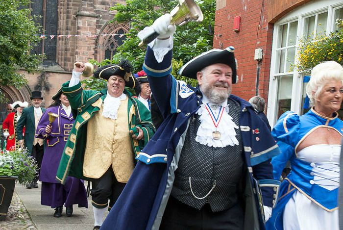 town criers parade in Nantwich town square