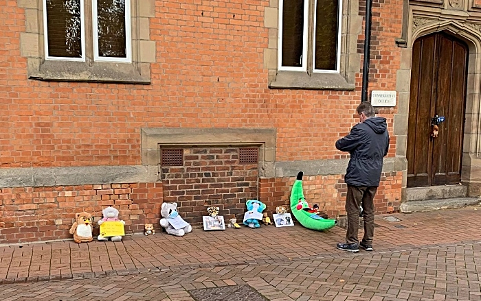 toys outside tory club in Nantwich