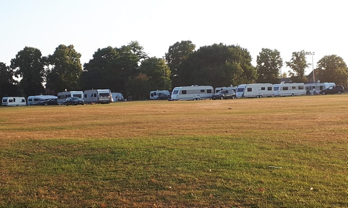 travellers on Barony Park, July 2018