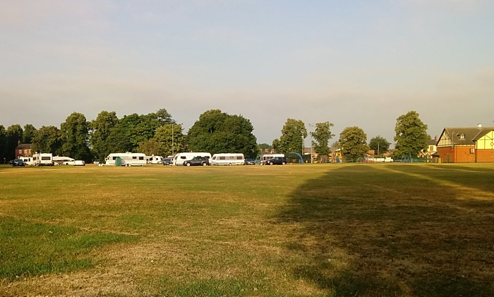 travellers encampment on Barony Park in Nantwich