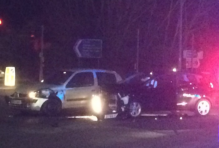 two car collision junction of London Road, Peter de Stapleigh Way, Elwood Road, Stapeley