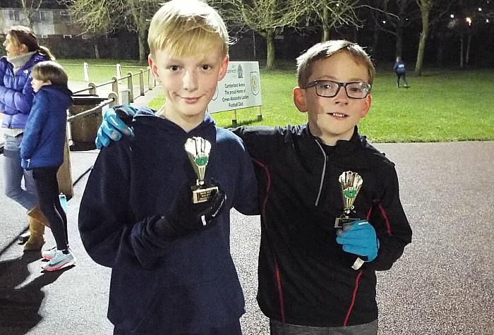 u11 boys team second Archie Varley and Alfie Carter