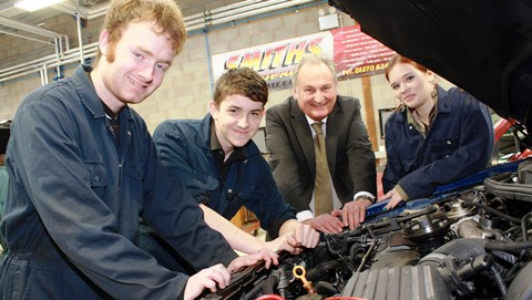 Nantwich students catch up with world record speedster Richard Noble
