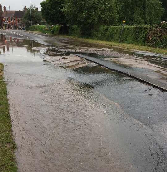water leak and flood barony park and middlewich road
