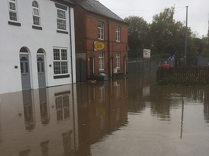 wood street in crewe flooding