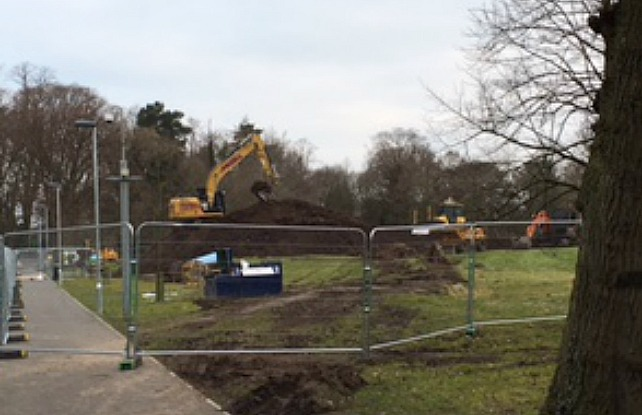 work on new sports pitches at reaseheath college